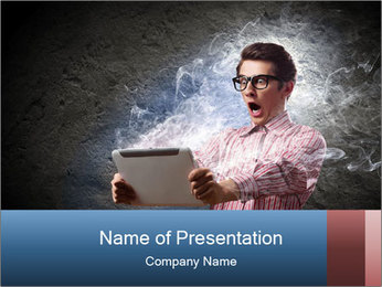 Young man looking shocked in pc PowerPoint Template