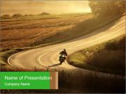Motorcycle on countryside road PowerPoint Templates