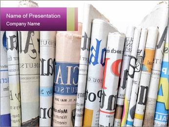 Row of newspapers PowerPoint Template - Slide 1