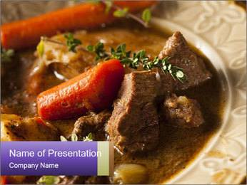 Homemade Irish Beef Stew with Carrots and Potatoes PowerPoint Templates - Slide 1