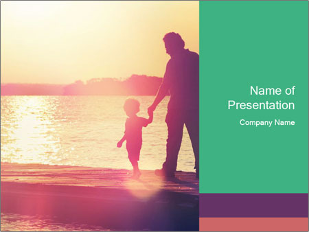Father and son walking PowerPoint Templates