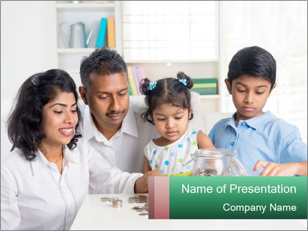 Indian family teaching children PowerPoint Templates