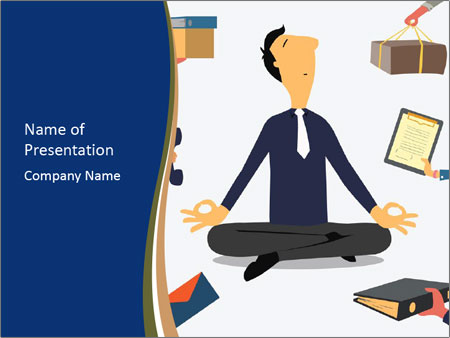 Businessman doing Yoga to calm down the stressful emotion PowerPoint Templates