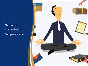 Businessman doing Yoga to calm down the stressful emotion PowerPoint Template - Slide 1