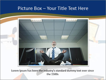 Businessman doing Yoga to calm down the stressful emotion PowerPoint Template - Slide 15