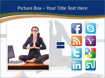 Businessman doing Yoga to calm down the stressful emotion PowerPoint Templates - Slide 21