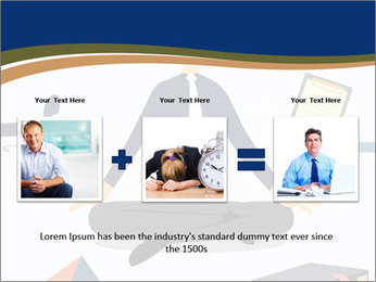 Businessman doing Yoga to calm down the stressful emotion PowerPoint Template - Slide 22