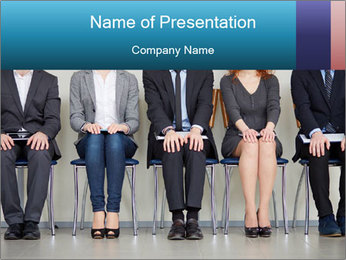 Portrait of several elegant employees sitting PowerPoint Template - Slide 1