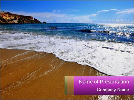 Must beautiful beach on Maltese islands PowerPoint Template