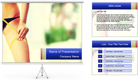 Slim woman measuring her leg PowerPoint Template