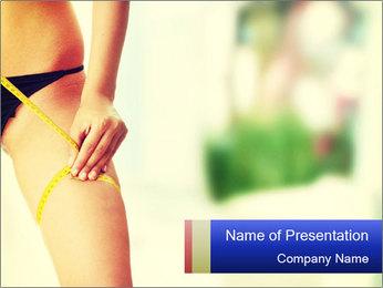 Slim woman measuring her leg PowerPoint Template - Slide 1