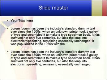 Slim woman measuring her leg PowerPoint Template - Slide 2