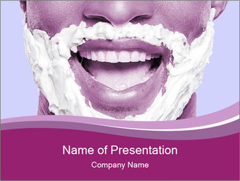 Portrait of playful African man with shaving cream PowerPoint Template - Slide 1