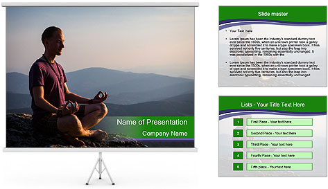 Man meditating on a rock PowerPoint Template
