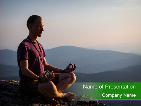 Man meditating on a rock PowerPoint Templates