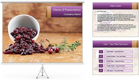 Fresh organic cranberries PowerPoint Template