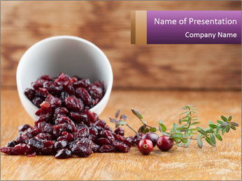 Fresh organic cranberries PowerPoint Template