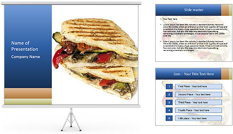 Healthy vegetable panini or focaccia PowerPoint Template