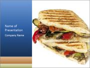 Healthy vegetable panini or focaccia PowerPoint Templates