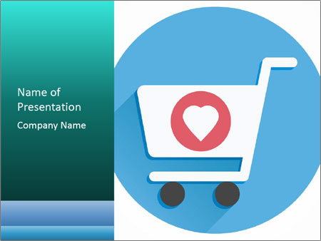 Shopping Cart and Heart Shape Sign Icon PowerPoint Templates