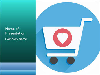 Shopping Cart and Heart Shape Sign Icon PowerPoint Template - Slide 1