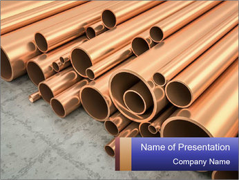 An image of some nice copper pipes PowerPoint Template - Slide 1