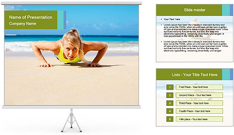 Fitness woman working out at the beach PowerPoint Template