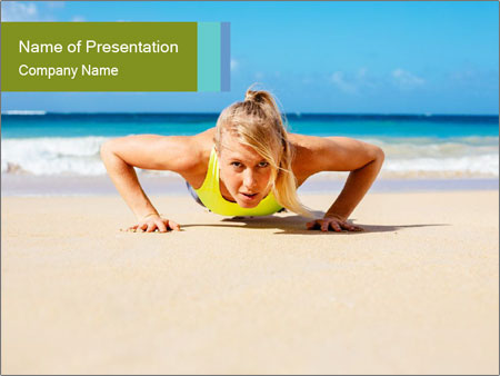 Fitness woman working out at the beach PowerPoint Templates