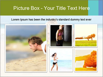 Fitness woman working out at the beach PowerPoint Templates - Slide 19
