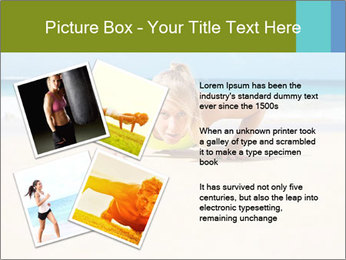 Fitness woman working out at the beach PowerPoint Templates - Slide 23