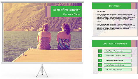 Two women sitting on a dock PowerPoint Template