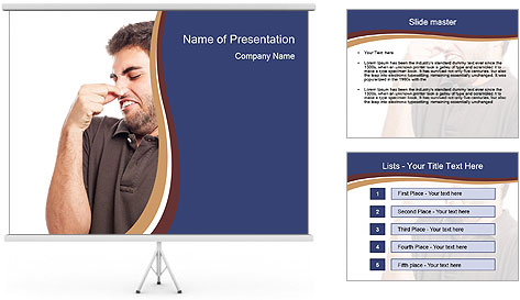 Portrait of young man smelling PowerPoint Template