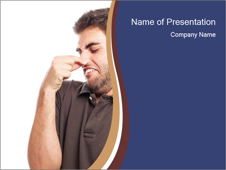 Portrait of young man smelling PowerPoint Templates