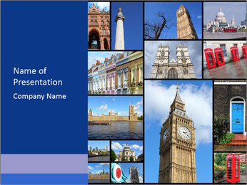 Collage from London, UK PowerPoint Template