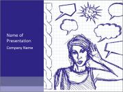 Sketch, comics style female PowerPoint Template