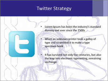 Sketch, comics style female PowerPoint Template - Slide 9