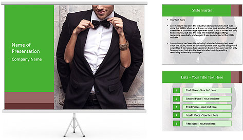 Getting Ready. Woman adjusting man's bow tie PowerPoint Template