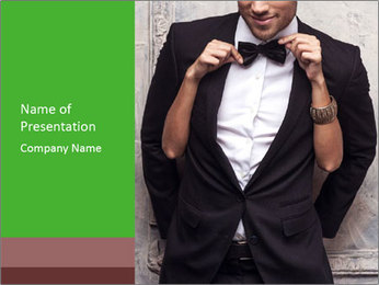 Getting Ready. Woman adjusting man's bow tie PowerPoint Templates - Slide 1