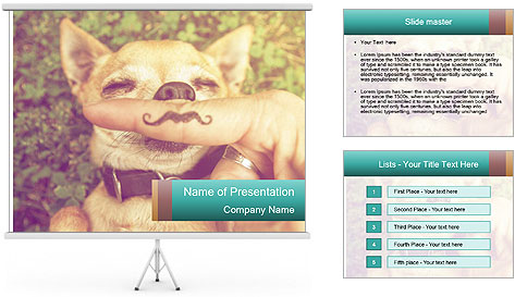 A cute chihuahua with a mustache finger in front of him done PowerPoint Template