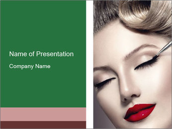 Retro styled Woman. Eyeline brush for Make up PowerPoint Template - Slide 1
