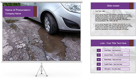 Damaged road full of cracked PowerPoint Template