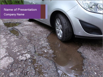 Damaged road full of cracked PowerPoint Template - Slide 1