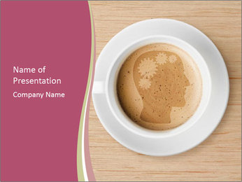 Coffee cup with brain refreshing concept PowerPoint Template - Slide 1