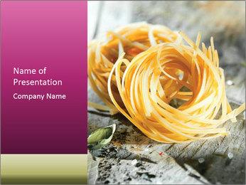 Italian linguine or tagliatelli pasta PowerPoint Template