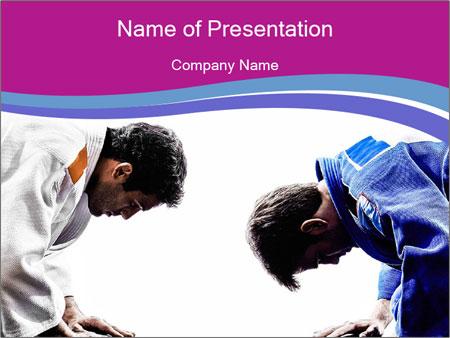 Two judokas fighters fighting men PowerPoint Template