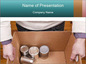 A man holding a cardboard box PowerPoint Template - Slide 1