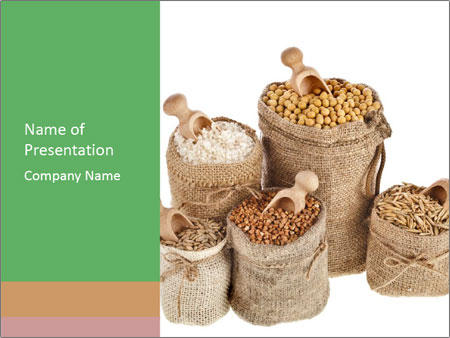 Corn kernel seed meal and grains in bags collection PowerPoint Template