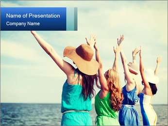 Summer holidays and vacation - girls with hands up PowerPoint Template - Slide 1