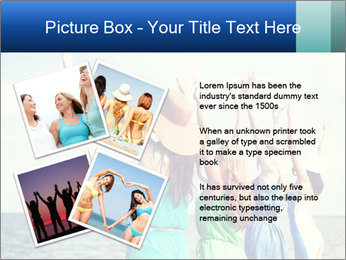 Summer holidays and vacation - girls with hands up PowerPoint Template - Slide 23