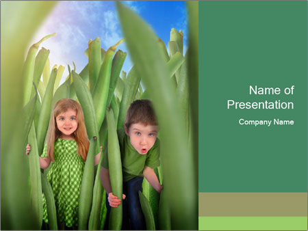 The girl and boy look happy PowerPoint Templates